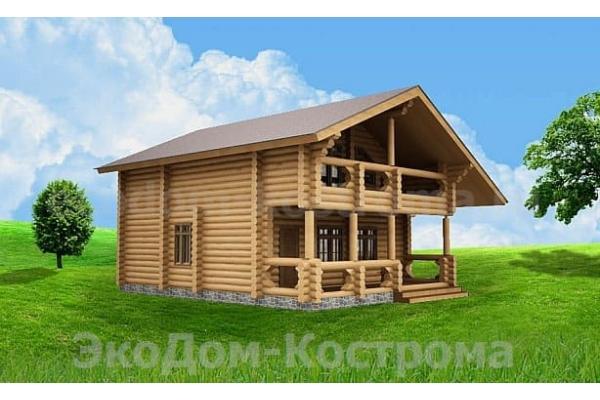 "Дом из оцилиндрованного бревна ""Серпухов"" ДО-15"