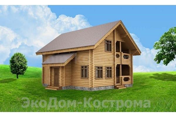 """Дом из оцилиндрованного бревна """"Икша"""" ДО-16"""