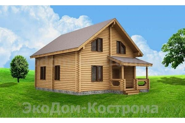 "Дом из оцилиндрованного бревна ""Михнево"" ДО-26"