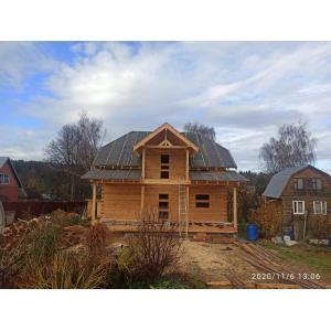 Дом из профилированного бруса 145х190 мм в Московской области Подольск ноябрь 2020