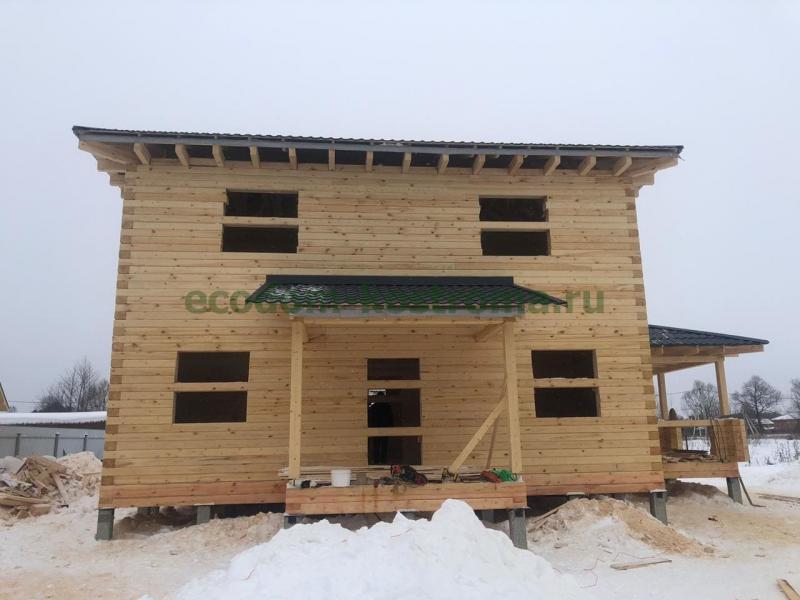 Дом из профилированного бруса под усадку Чеховский район в феврале 2021 года