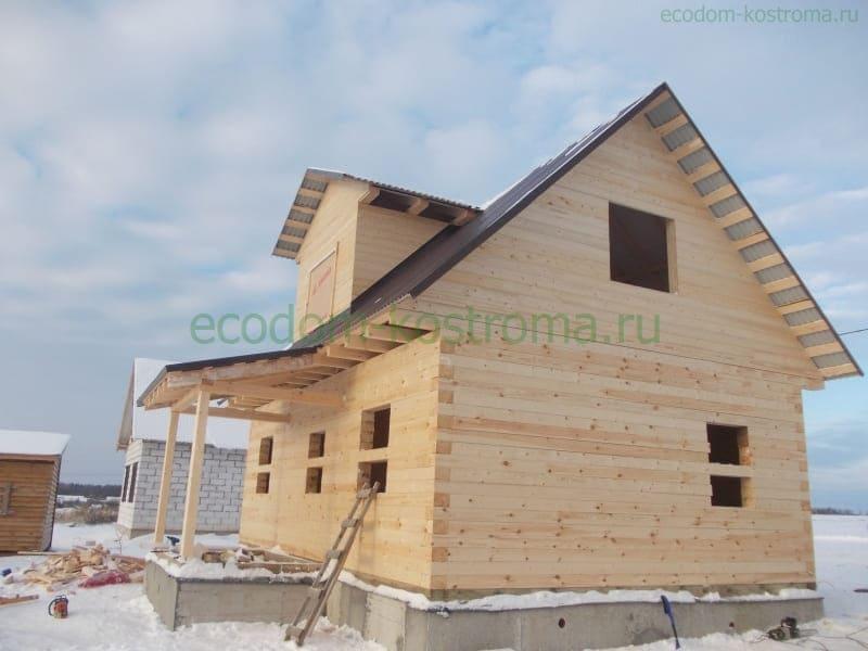 Дом из профилированного бруса под усадку в Костромской области